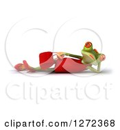 3d Female Springer Frog Holding A Purse And Resting