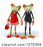 Clipart Of A 3d Dressed Up Springer Frog Couple Holding Hands Royalty Free Illustration by Julos