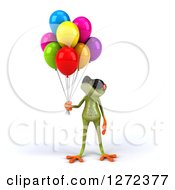 Clipart Of A 3d Green Springer Frog Wearing Sunglasses And Looking Up At Party Balloons Royalty Free Illustration