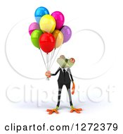 Clipart Of A 3d Green Business Springer Frog Looking Up At Party Balloons Royalty Free Illustration