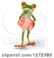 Clipart Of A 3d Green Springer Frog Walking Forward And Carrying A Piggy Bank Royalty Free Illustration