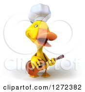 Clipart Of A 3d Yellow Chef Duck Playing A Guitar Royalty Free Illustration
