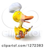 Clipart Of A 3d Yellow Chef Duck Facing Right And Playing A Guitar Royalty Free Illustration