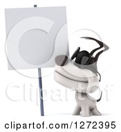 Clipart Of A 3d Jack Russell Terrier Dog Wearing Sunglasses And Smiling Up At A Blank Sign Royalty Free Illustration