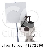 Clipart Of A 3d Jack Russell Terrier Dog Wearing Sunglasses And Smiling Under A Blank Sign Royalty Free Illustration