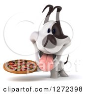 Clipart Of A 3d Jack Russell Terrier Dog Holding A Pizza Royalty Free Illustration