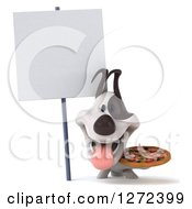 Clipart Of A 3d Jack Russell Terrier Dog Holding A Pizza Under A Blank Sign Royalty Free Illustration