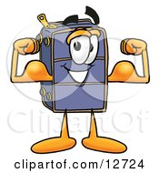 Clipart Picture Of A Suitcase Cartoon Character Flexing His Arm Muscles