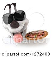 Clipart Of A 3d Jack Russell Terrier Dog Wearing Sunglasses And Holding A Pizza Over A Sign Royalty Free Illustration