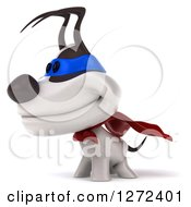 Clipart Of A 3d Jack Russell Terrier Dog Super Hero Facing Left Royalty Free Illustration