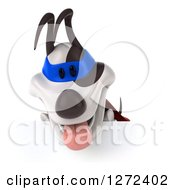 Clipart Of A 3d Jack Russell Terrier Dog Super Hero Looking Down Over A Sign Royalty Free Illustration