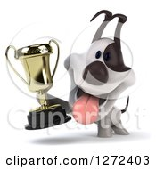 Clipart Of A 3d Jack Russell Terrier Dog Holding Up A Championship Trophy Royalty Free Illustration