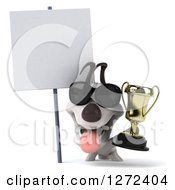 Clipart Of A 3d Jack Russell Terrier Dog Wearing Sunglasses And Holding Up A Championship Trophy Under A Blank Sign Royalty Free Illustration