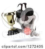 Clipart Of A 3d Jack Russell Terrier Dog Wearing Sunglasses Running And Holding Up A Championship Trophy Royalty Free Illustration