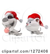 Clipart Of A 3d White Christmas Cat Chasing A Jack Russell Terrier Dog Royalty Free Illustration