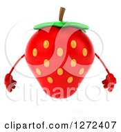 Clipart Of A 3d Strawberry Character Royalty Free Illustration