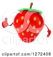 Clipart Of A 3d Strawberry Character Giving A Thumb Up Royalty Free Illustration by Julos
