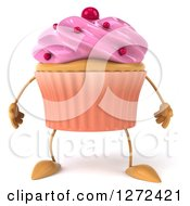 Clipart Of A 3d Pink Frosted Cupcake Character Royalty Free Illustration