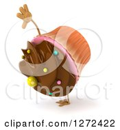 Clipart Of A 3d Chocolate Frosted Cupcake Character Cartwheeling Royalty Free Illustration