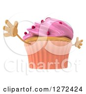3d Pink Frosted Cupcake Character Facing Right And Jumping