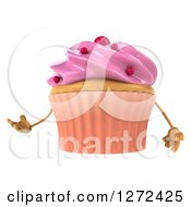 3d Pink Frosted Cupcake Character Presenting