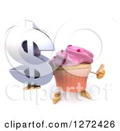 3d Pink Frosted Cupcake Character Holding A Thumb Up And A Dollar Symbol