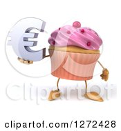 3d Pink Frosted Cupcake Character Holding A Euro Symbol