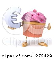3d Pink Frosted Cupcake Character Holding A Thumb Up And Euro Symbol