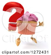 3d Pink Frosted Cupcake Character Facing Slightly Right Jumping And Holding A Question Mark