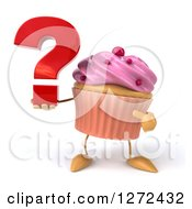 3d Pink Frosted Cupcake Character Holding And Pointing To A Question Mark