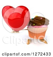 3d Chocolate Frosted Cupcake Character Holding Up A Red Heart