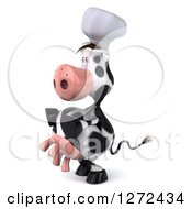 Clipart Of A 3d Chef Cow Facing To The Left Royalty Free Illustration