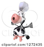 Clipart Of A 3d Chef Cow Facing To The Left And Jumping Royalty Free Illustration