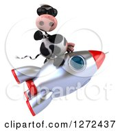 Clipart Of A 3d Cow Wearing Sunglasses And Flying On A Rocket Royalty Free Illustration