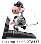 Clipart Of A 3d Cow Wearing Sunglasses And Running On A Treadmill Facing Left Royalty Free Illustration