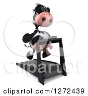 Clipart Of A 3d Cow Wearing Sunglasses And Running On A Treadmill Facing Slightly Right Royalty Free Illustration