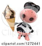Clipart Of A 3d Cow Wearing Sunglasses And Holding Up An Ice Cream Cone Royalty Free Illustration
