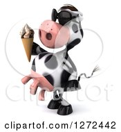 Clipart Of A 3d Cow Wearing Sunglasses Facing Left And Holding An Ice Cream Cone Royalty Free Illustration