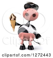Clipart Of A 3d Cow Wearing Sunglasses And Holding An Ice Cream Cone Royalty Free Illustration