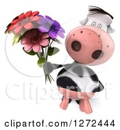 3d Cow Holding Up A Bouquet Of Colorful Flowers