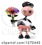 3d Cow Wearing Sunglasses And Holding A Bouquet Of Colorful Flowers