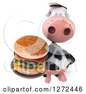Clipart Of A 3d Cow Holding Up A Double Cheeseburger On A Plate Royalty Free Illustration by Julos