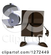 Clipart Of A 3d Chocolate Candy Bar Character Holding A Dollar Symbol Royalty Free Illustration