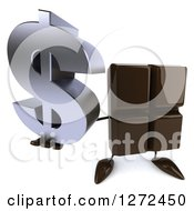 Clipart Of A 3d Chocolate Candy Bar Character Holding Up A Dollar Symbol Royalty Free Illustration