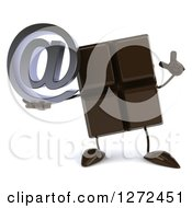 Clipart Of A 3d Chocolate Candy Bar Character Holding Up A Finger And An Arobase Email Symbol Royalty Free Illustration