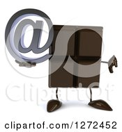 Clipart Of A 3d Chocolate Candy Bar Character Holding A Thumb Down And An Arobase Email Symbol Royalty Free Illustration