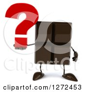 Clipart Of A 3d Chocolate Candy Bar Character Holding A Question Mark Royalty Free Illustration