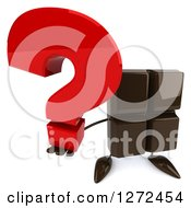 Clipart Of A 3d Chocolate Candy Bar Character Holding Up A Question Mark Royalty Free Illustration