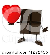 Clipart Of A 3d Chocolate Candy Bar Character Shrugging And Holding A Heart Royalty Free Illustration