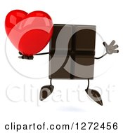 Clipart Of A 3d Chocolate Candy Bar Character Jumping And Holding A Heart Royalty Free Illustration